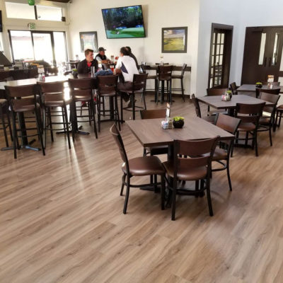 <b>Commercial, Baylands Golf Links, Palo Alto:</b> Install LVT  flooring (luxury vinyl tile), 4.500  square feet total in the restaurant and the pro shop.