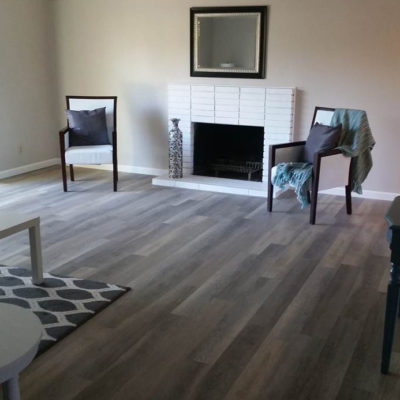 <b>Living Room, Los Altos: </b> Install LVT flooring (luxury vinyl tile), </br>950 square feet total in the living room, bedrooms and common areas.