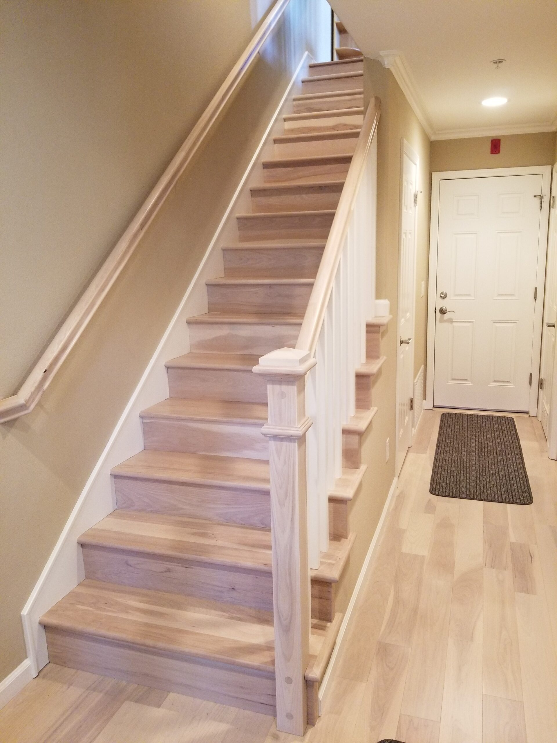 "Los Altos - ""After"" stair project; pull carpet, add whole new Hickory/Pecan assembly installed/stained and finished with water-based urethane finish."