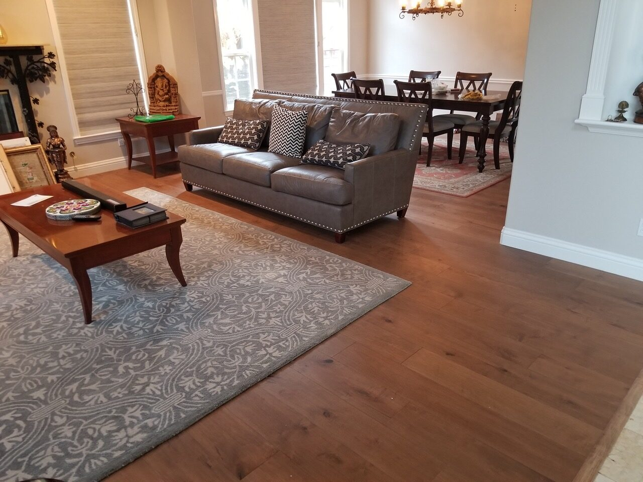 """After"" Repairs: San Jose / Silver Creek living room /dining room repairs. Remove existing flooring and install engineered flooring, 5oot square feet."