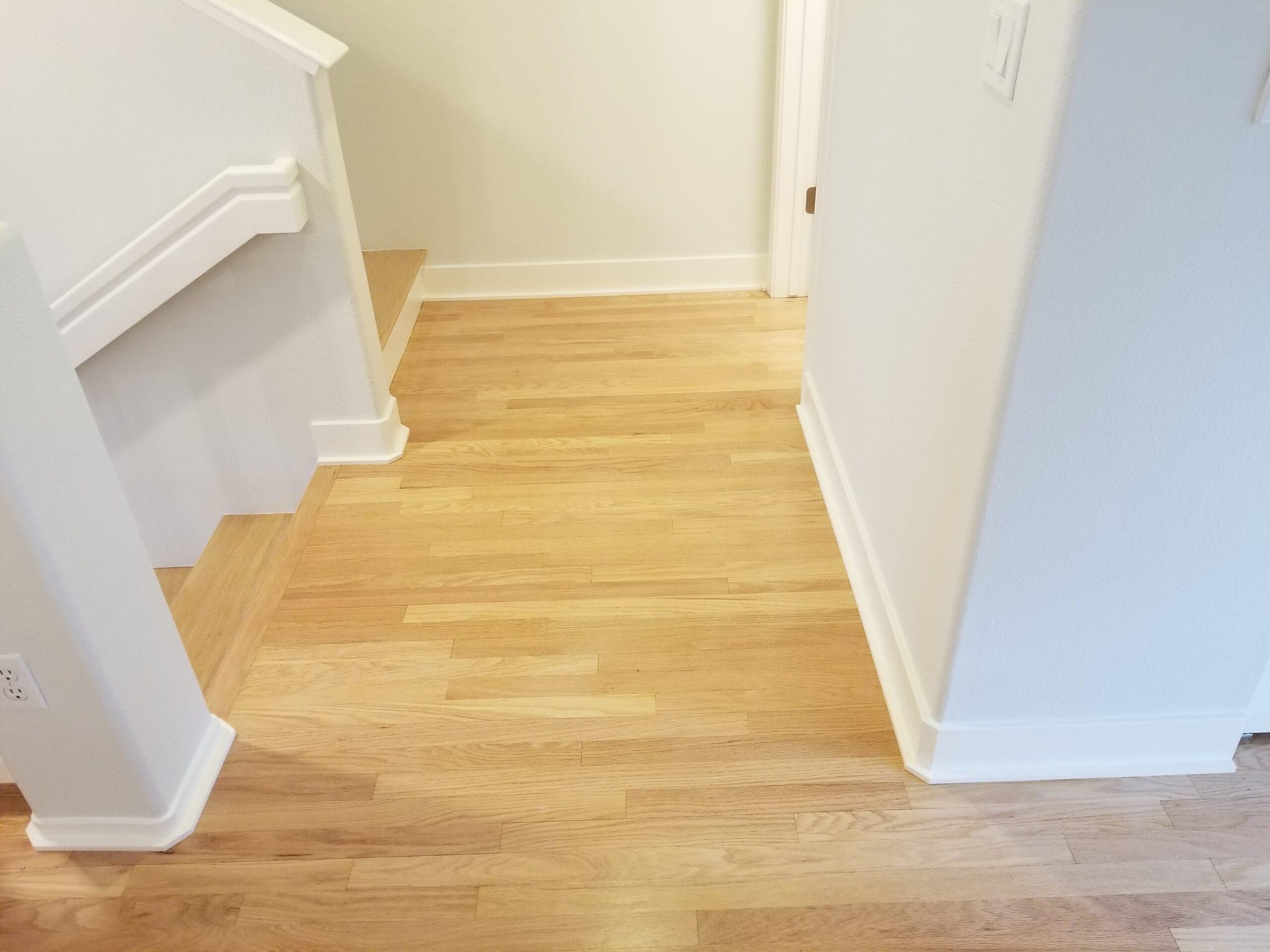 Refinish engineered red oak flooring 2nd floor landing  and stairway Sunnyvale.