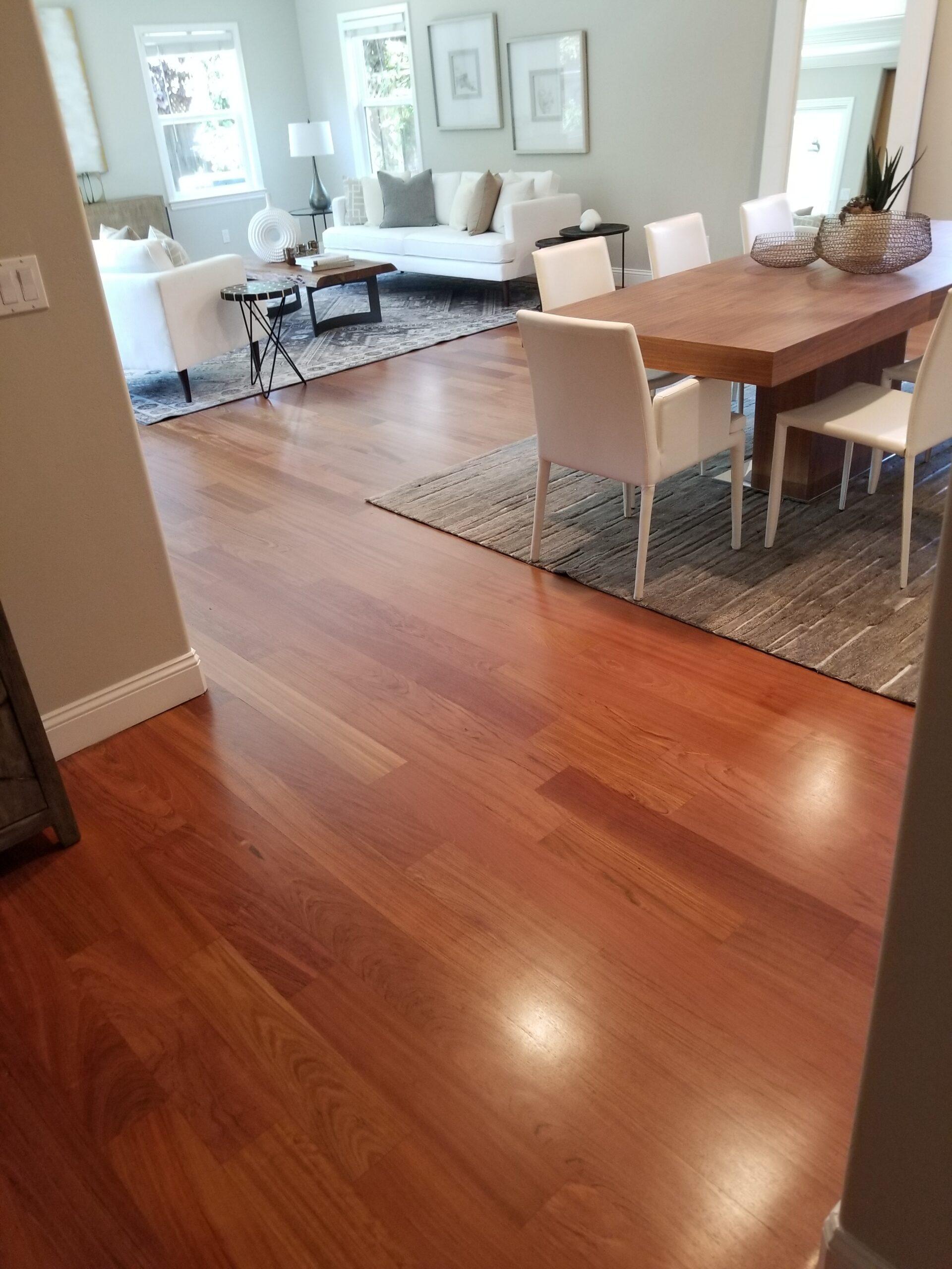 Sunnyal Residential: Refinish living room and hallways' Brazilian cherry hardwood.