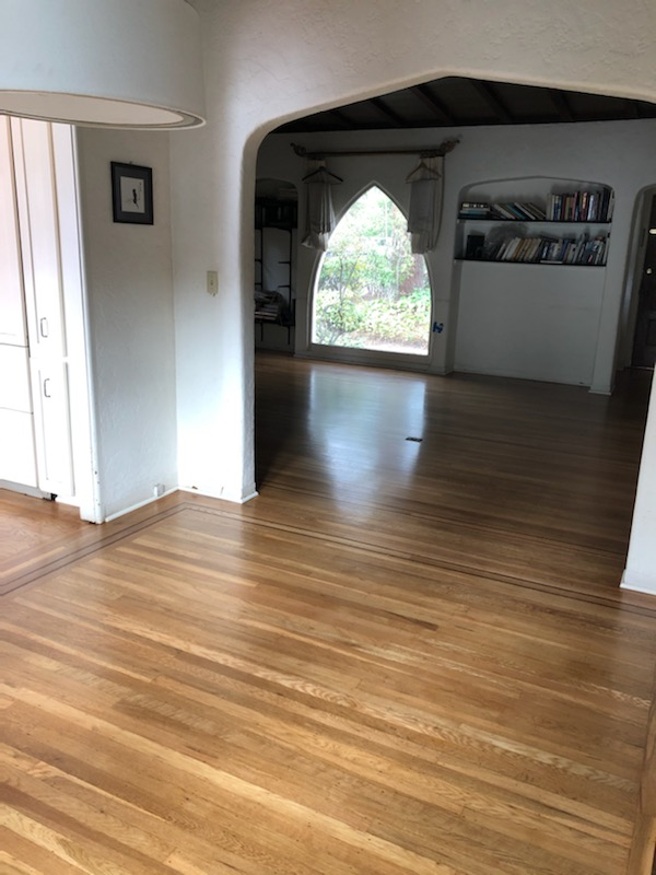 Palo Alto 100 year-old house: Repair, restain, refinish entire house's white oak flooring. 10575 aquare feet.