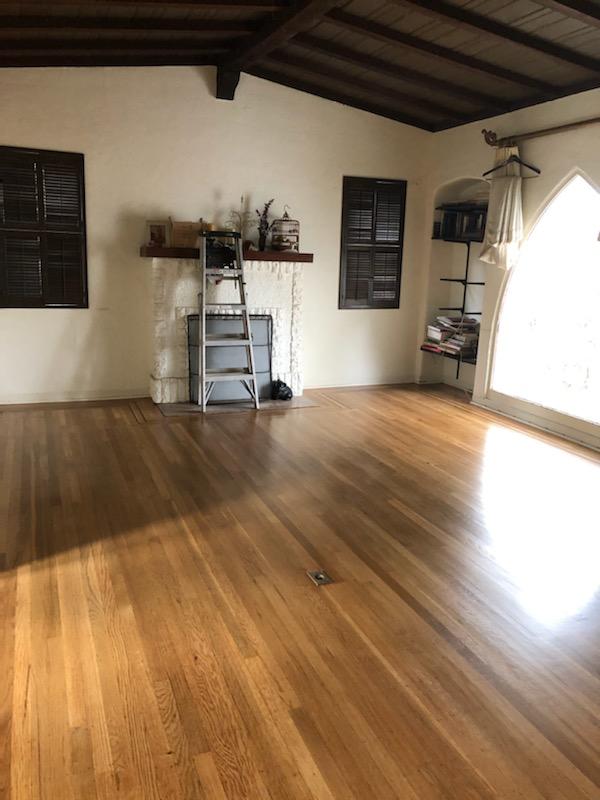 Living room white oak floors now look amazing.