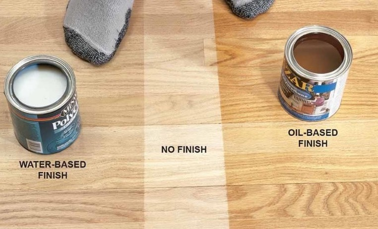 A visual wood flooring comparison : water, oil or no finish