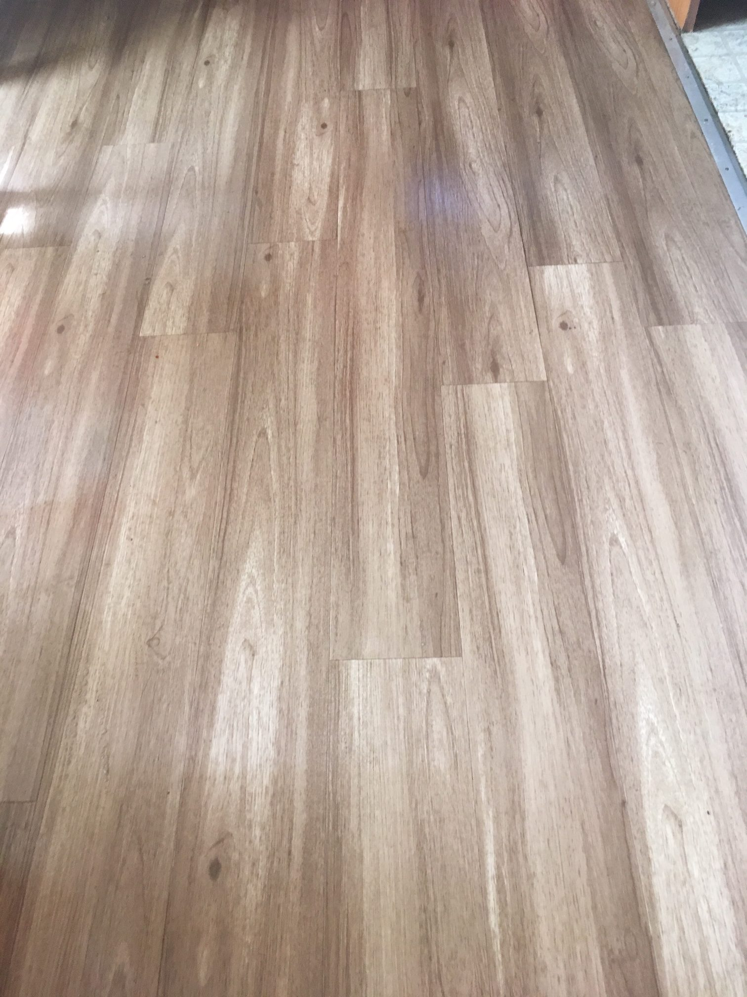 """After"" - LVT cleaning tips: Add 1 oz. dish soap to 1 gal. warm                                                                   water, using squeez  mop, Sunnyvale flooring looking new again."