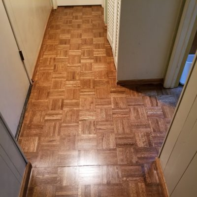 Red Oak Parque Flooring: Sand and refinished with hand-rub stain and 3-coats of high-grade water-based finish. Installed in Los Altos office/ hallway, 375 square feet.