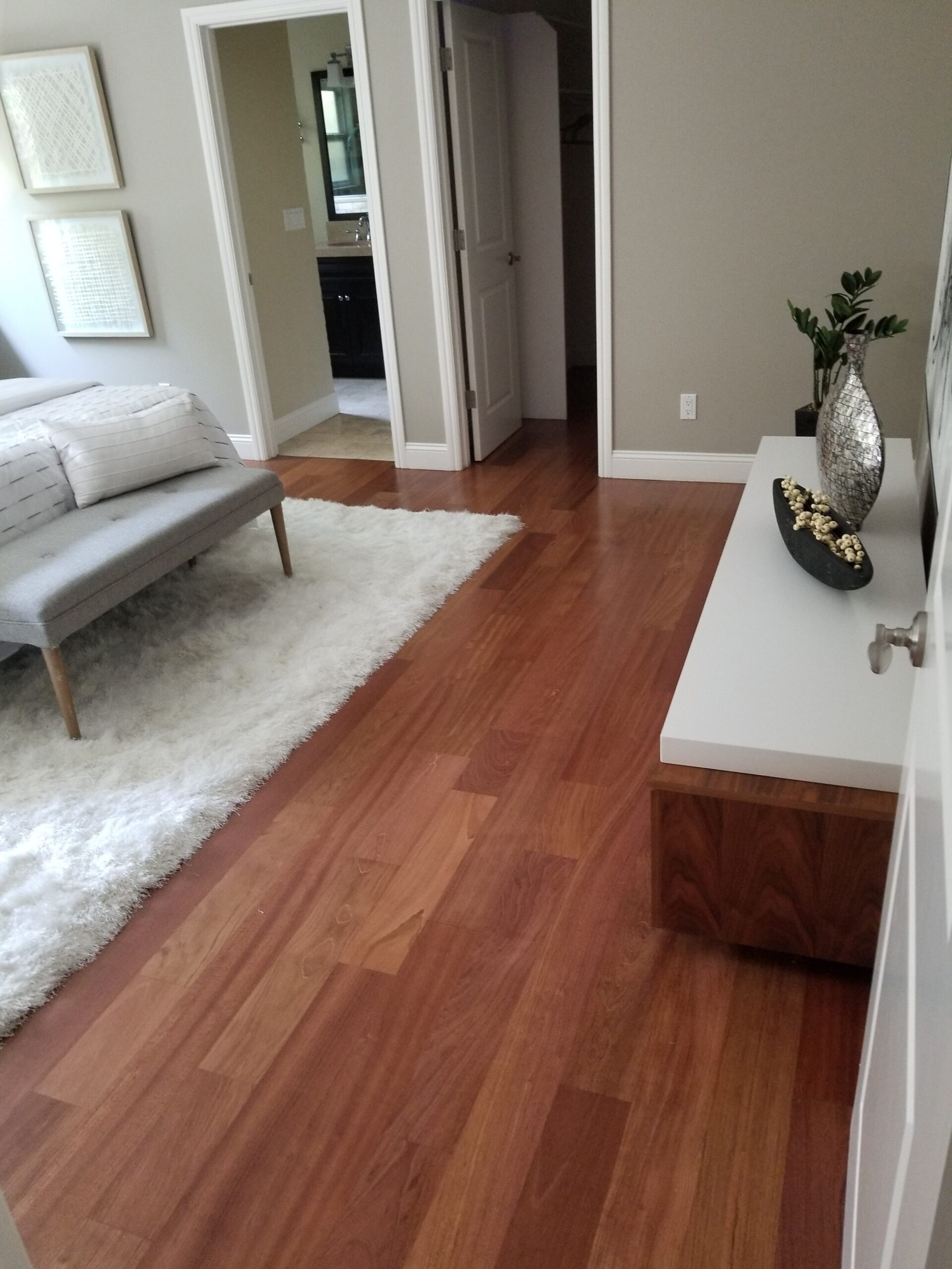 Shows results Sunnyvale master bedroom's Brazilian cherrywood flooring refinished.