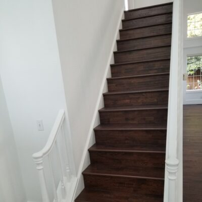 Mt View - prefinished stained hickory hardwood flooring installation replacing carpet on stairs.