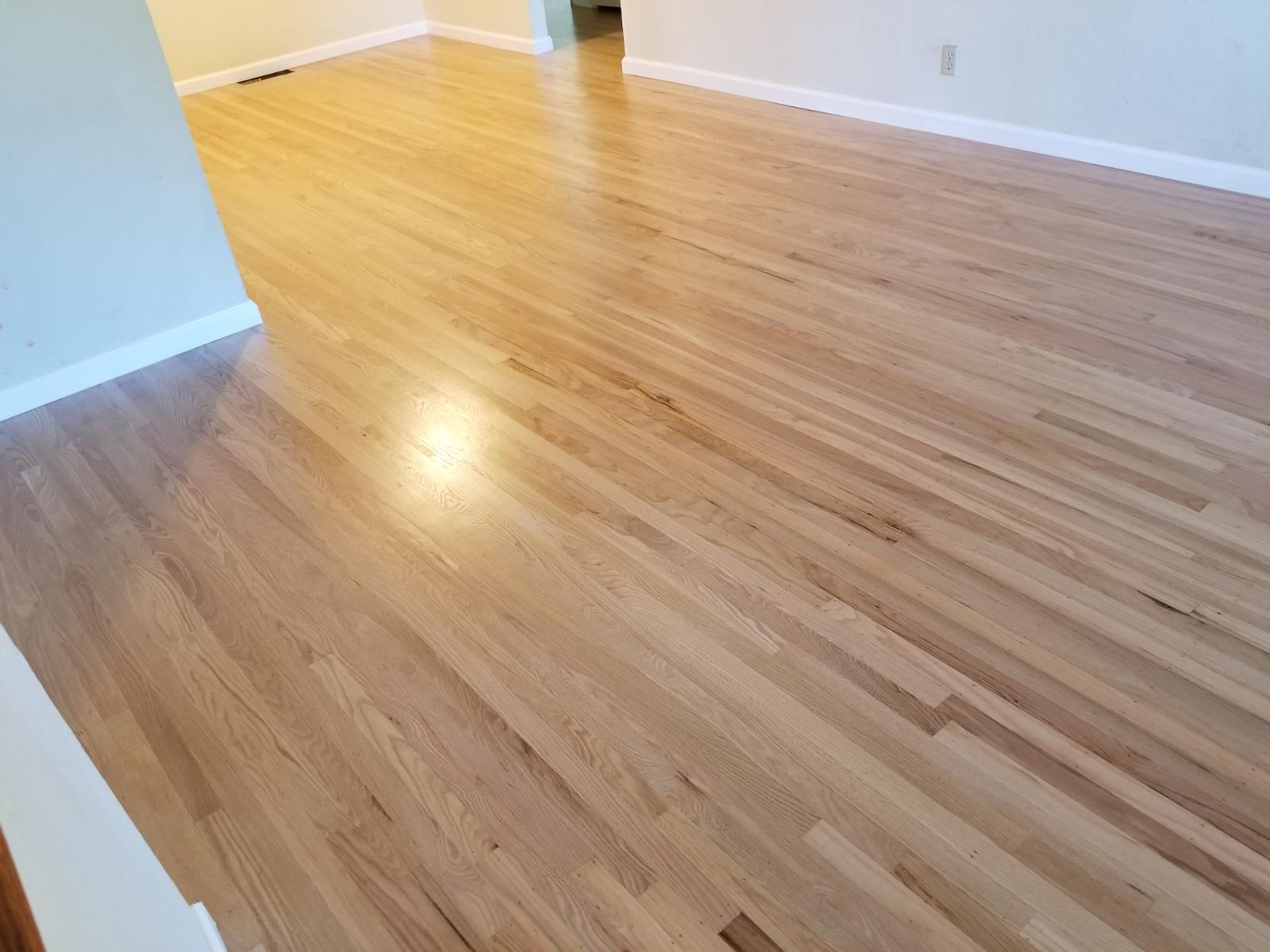 Sunnyvale residential, dining & living rooms: Install 375 square feet red oak hardwood flooring; remove 25-year old  carpeting and repair 125 square foot flooring and repair, sand, and coat with three finishes