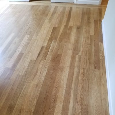 "Menlo Park residential, ""after"": repair and refinish bedroom's white oak custom flooring - 275 square"