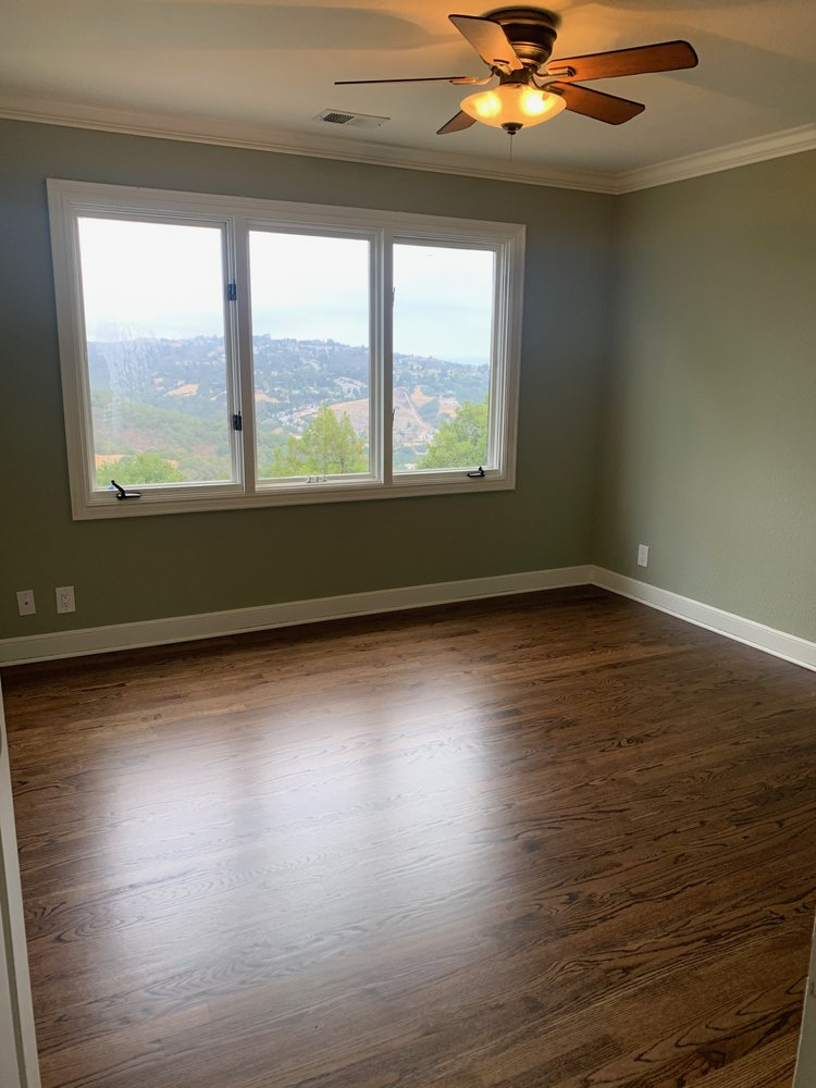 Mt. View - master bedroom, 300 square feet, sand and refinish  with medium-brown stain and 3 coats semi-water-base finish.