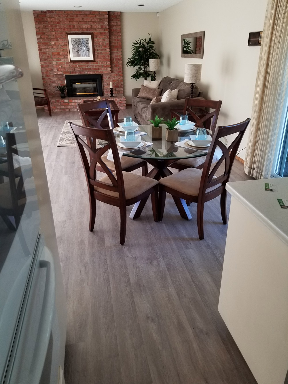 Sunnyvale,  residential: Water-proof, luxury vinyl tile (LVT)  installed in family room and dinning room.  450 square feet.