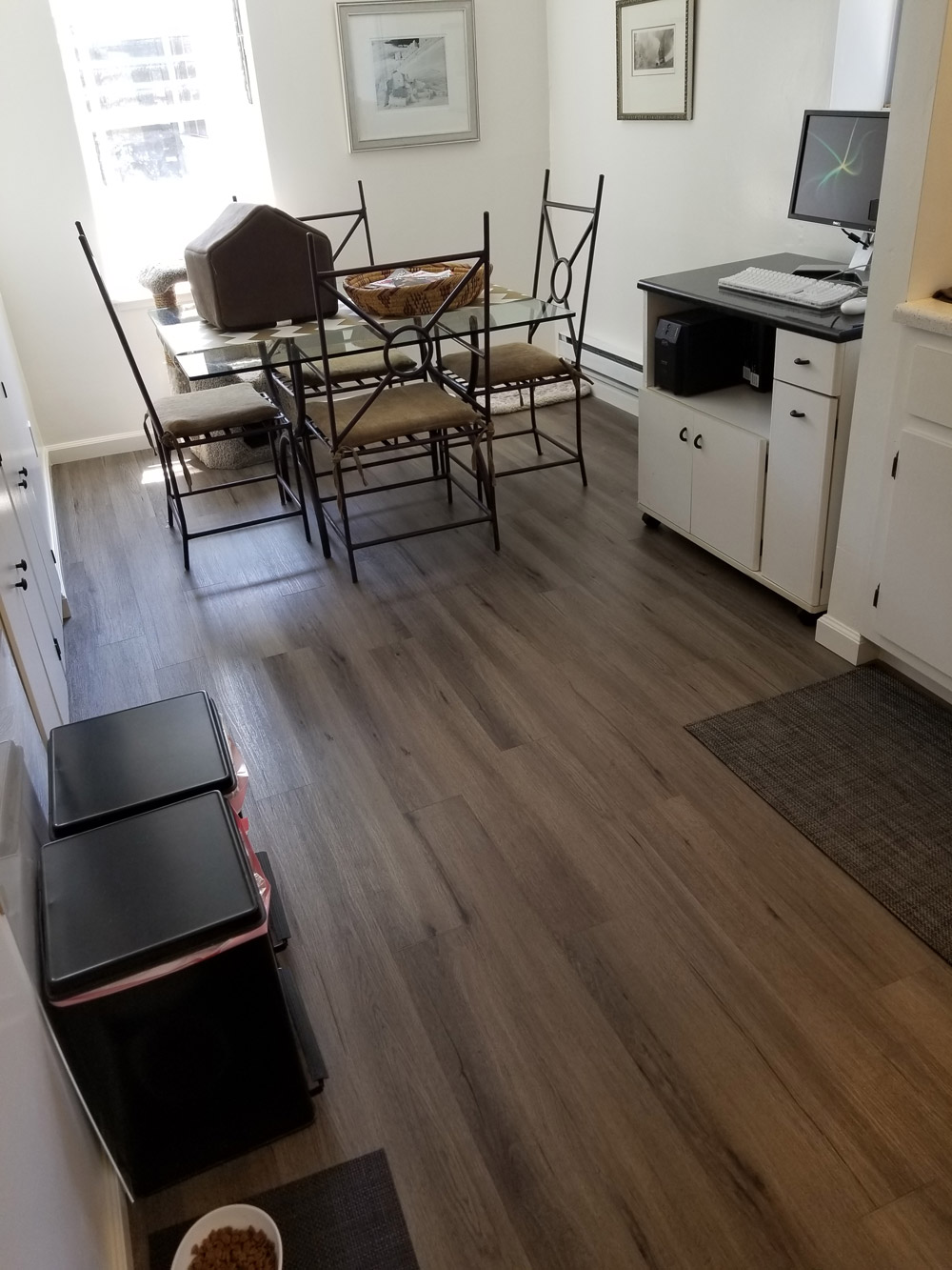 Palo Alto, office/ kitchen dinette: Install water-proof  LVT      (luxury vinyl tile) over existing  hardwood flooring.                   250 square feet.