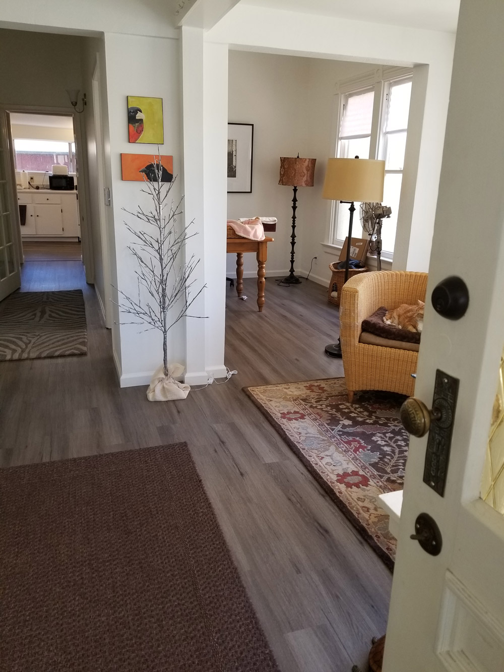 Palo Alto, office/home: hallway, dinning room. Install  water-proof  LVT (luxury vinyl tile)  strip  flooring over       existing  hardwood flooring. 450 square feet.
