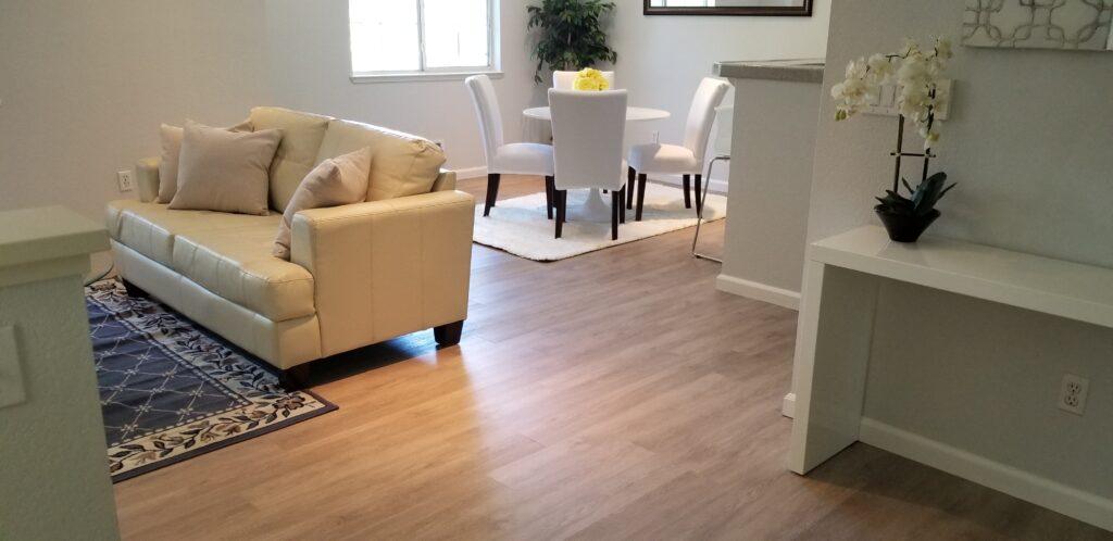 Refinished hardwood flooring — looks new again!